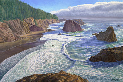 Surf Painting - Looking South- Oregon Coast by Paul Krapf