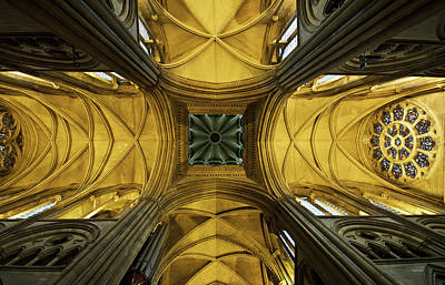 Indoors Photograph - Looking Up At A Cathedral Ceiling by James Ingham / Design Pics