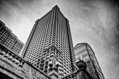 Photograph - Looking Up At A Skyscraper - Black And White by Anthony Doudt