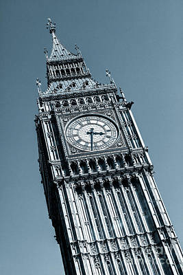 Photograph - Looking Up At Big Ben And Clock Against Blue Sky. by Peter Noyce