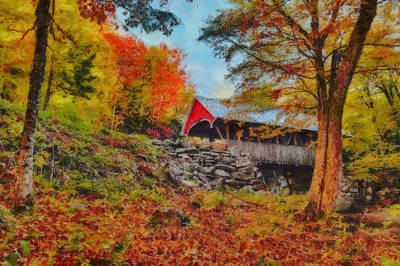 Fall Foliage Digital Art - Looking Up At The Flume Gorge Covered Bridge by Jeff Folger