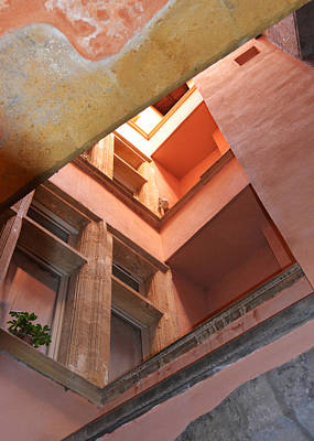 Photograph - Looking Up In The Rose Tower Of Lyon Traboule by Carla Parris