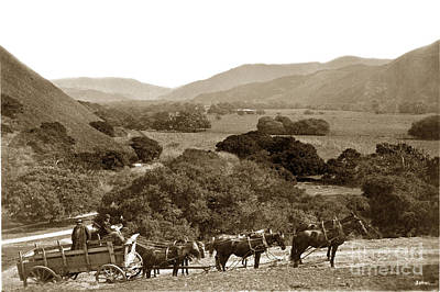 Photograph - Looking Up The Carmel Valley California Circa 1880 by California Views Mr Pat Hathaway Archives