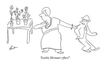Bass Drawing - Lookit, Herman - Flars! by James Thurber
