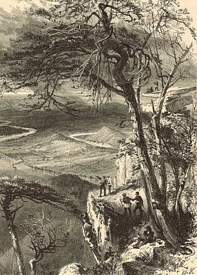 Lookout Mountain Drawing - Lookout Mountain View From The Point 1872 Engraving by Antique Engravings