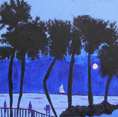 Looming Shore At Night Art Print by Artists With Autism Inc