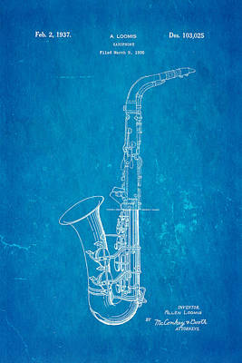 Saxophones Photograph - Loomis Saxophone Patent Art 1937 Blueprint by Ian Monk
