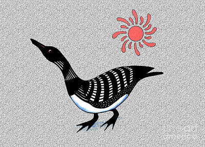 Loon Mixed Media - Loon And Sun by Art  MacKay