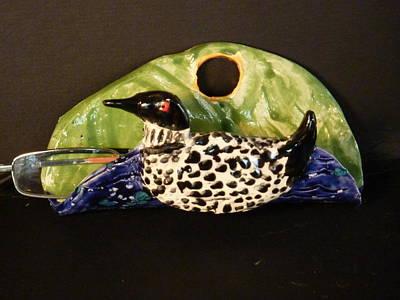 Customcrittersbydeb Sculpture - Loon Eyeglass  Holder  by Debbie Limoli