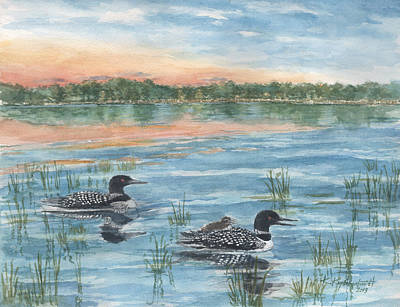 Loon Mixed Media - Loon Family by Kerry Kupferschmidt