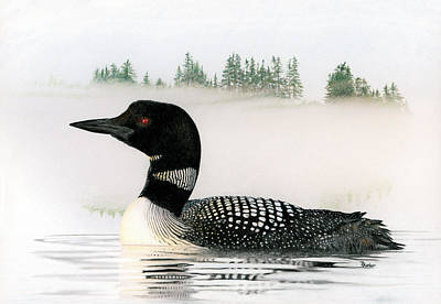 Drawing - Loon In Fog by Brent Ander