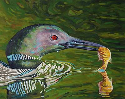 Loon Lunch Original by Phil Chadwick