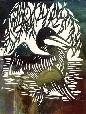 Loon Mixed Media - Loon Paper Cut by Alfred Ng