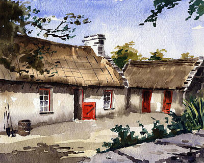 Thatched Cottage Painting - Loophead Cottage  Clare by Val Byrne