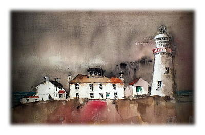 Painting - Loophead Lighthouse Clare by Val Byrne