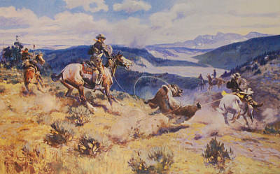 Loops And Swift Horses Are Surer Then Lead Print by Charles Russell