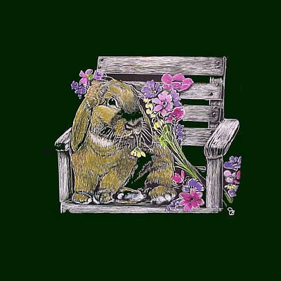 Jeanie Mixed Media - Lop Bunny In Garden Chair by Jeanie Beline