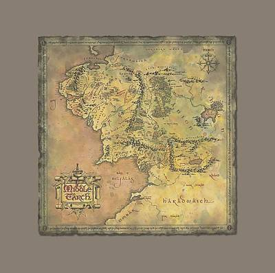 Tolkien Digital Art - Lor - Middle Earth Map by Brand A