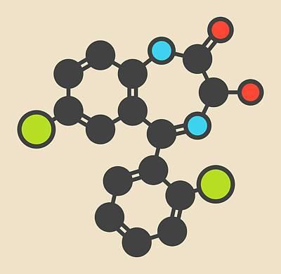 Lorazepam Sedative Drug Molecule Art Print by Molekuul