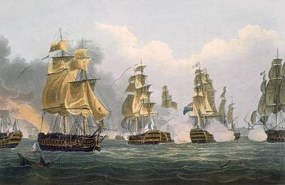 Action Drawing - Lord Bridports Action Off Port Lorient by Thomas Whitcombe