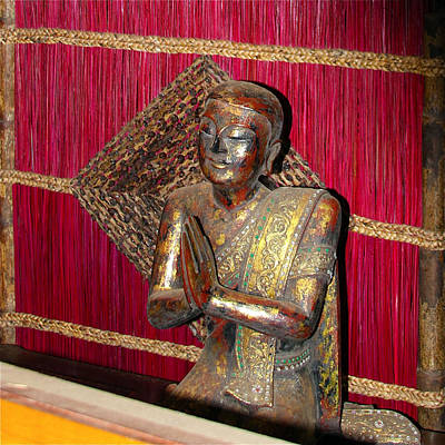 Photograph - Lord Buddha Buddhist With Red Screen by Karon Melillo DeVega
