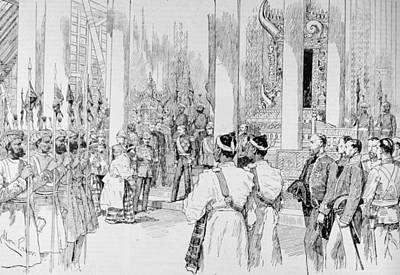 Burmese Photograph - Lord Dufferin Holding Levee In The Grand Throne Room Of The Palace At Mandalay, From The by Melton Prior