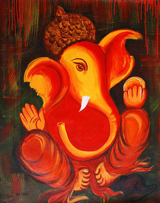 Lord Ganesha Painting - Lord Ganesh Ji Abstract II by Riya Rathore