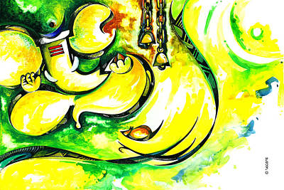 Lord Ganesha Painting - Lord Ganesha Abstract Art by Vecras