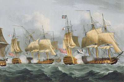 Action Drawing - Lord Howe In The Queen Charlotte by Thomas Whitcombe