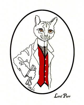 Orange Tabby Drawing - Lord Purr by Elia Peters