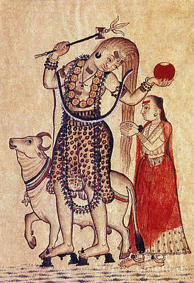 Parvati Photograph - Lord Shiva With Sacred Bull Nandi by Photo Researchers