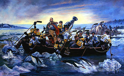 Pittsburgh Painting - Lord Stanley And The Penguins Crossing The Allegheny by Frederick Carrow