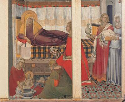 Man Holding Baby Photograph - Lorenzetti Pietro, Birth Of The Virgin by Everett