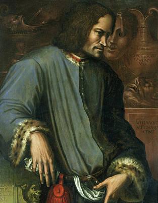Lorenzo De Medici 1449-92 The Magnificent Oil On Panel Art Print by Giorgio Vasari