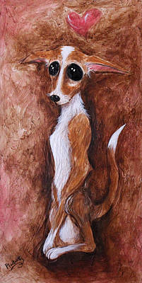 Art Print featuring the painting Loretta Chihuahua Big Eyes  by Patricia Lintner