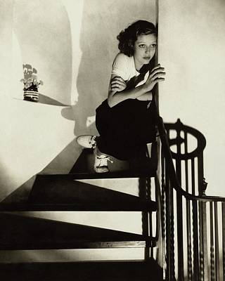 Loretta Young Sitting On A Staircase Art Print
