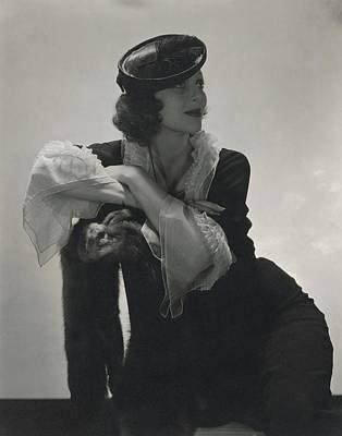 Loretta Young Wearing A Ruffled Dress Art Print