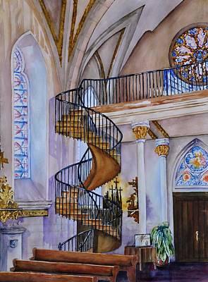 Staircase Painting - Loretto Chapel - Santa Fe Nm by Joy Skinner
