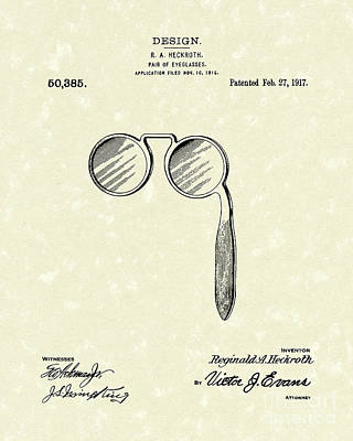 Worn Drawing - Lorgnette 1917 Patent Art by Prior Art Design