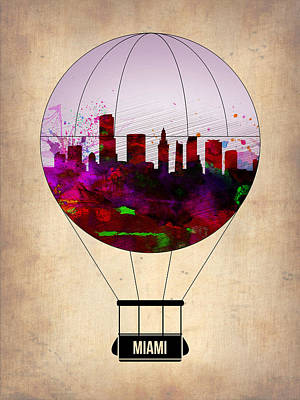 Miami Painting - Miami Air Balloon 1 by Naxart Studio