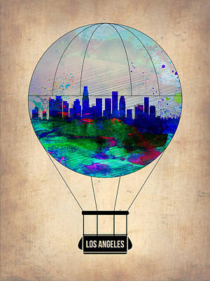 Los Angeles Air Balloon Art Print by Naxart Studio