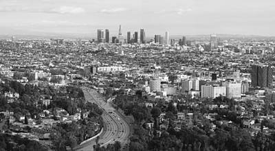 Photograph - Los Angeles Skyline And Los Angeles Basin Panorama Monochrome Black And White by Ram Vasudev