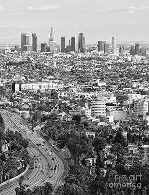 Los Angeles Basin And Los Angeles Skyline Black And White Monochrome Art Print