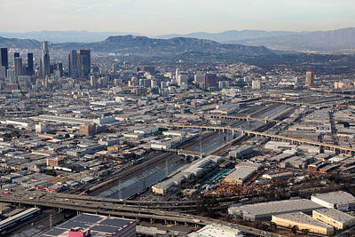 Photograph - Los Angeles Bridges Aerial by Kevin  Break