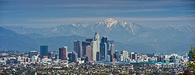 California Department Of Parks And Recreation Photograph - Los Angeles Skyline Mt Baldy Snowcap by David Zanzinger