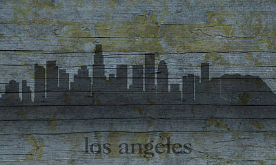 City Skyline Mixed Media - Los Angeles California City Skyline Silhouette Distressed On Worn Peeling Wood by Design Turnpike