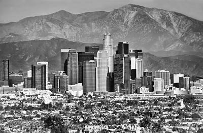 Photograph - Los Angeles California Skyline - Black And White by Gregory Ballos