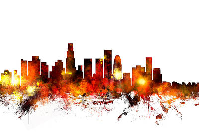 Los Angeles Digital Art - Los Angeles California Skyline by Michael Tompsett