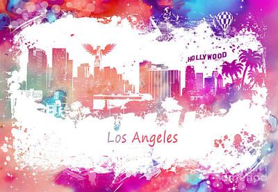Los Angeles Skyline Digital Art - Los Angeles California Skyline Purple by Justyna JBJart