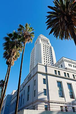 Los Angeles City Hall With Palm Trees. Art Print